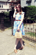 sky blue vintage dress - beige vintage bag