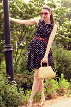 navy Forever 21 dress - tan vintage bag - hot pink Urban Outfitters sunglasses