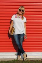 handmade top - Paige jeans - seychelles shoes - Wendy Mink earrings - thrift bag