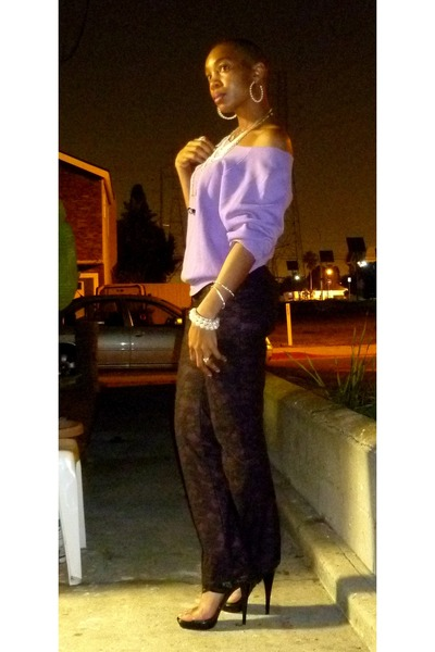 Anne Michelle shoes - cut neck Jerzee sweatshirt - lace thrifted vintage pants