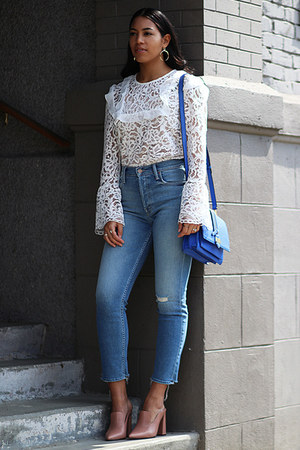 Wayf top - mother jeans - Rebecca Minkoff bag - Marc Fisher heels