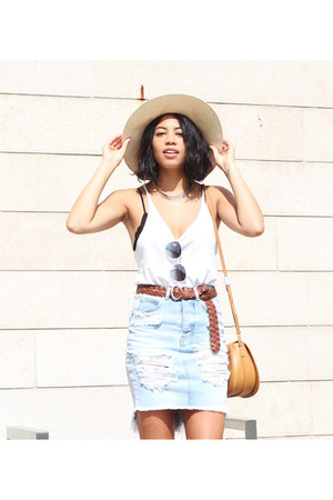 One Teaspoon skirt - free people hat - Aritzia bag - dvf sunglasses