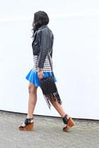 black Nasty Gal jacket - Mango top - blue robert rodriguez skirt