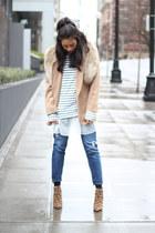 Gap jeans - tan Pendelton blazer - JCrew top - Dolce Vita heels