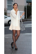 white Nordstrom shirt - heather gray London Fog bag - ivory Aritzia skirt