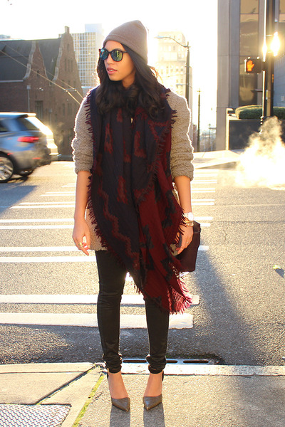 maroon Aritzia scarf - heather gray Aritzia coat - black Mango jeans