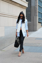 light blue Mango shirt - white Mural vest - black Steve Madden heels