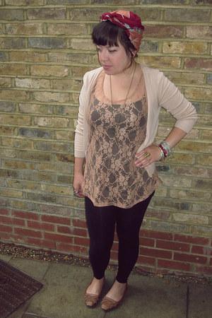 black H&M leggings - maroon vintage scarf - tan H&M vest - black H&M vest