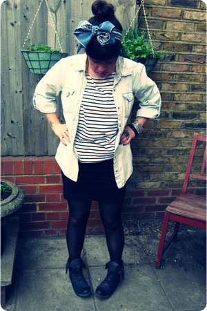 studded H&M boots - denim Primark shirt - H&M tights - vintage scarf - stripes H