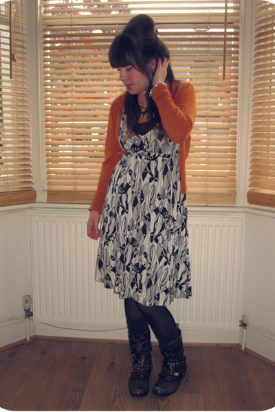 black biker Office boots - black and white H&M dress - black Primark tights