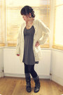H-m-dress-office-boots-primark-tights-h-m-socks-aran-vintage-cardigan