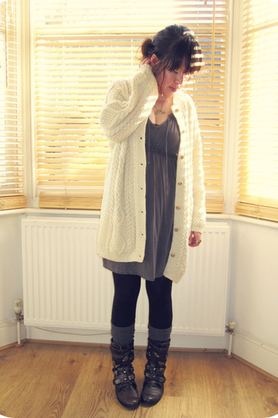 H&amp;M dress - Office boots - Primark tights - H&amp;M socks - aran vintage cardigan