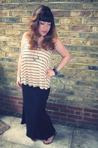 tan striped H&M vest - black maxi skirt Dorothy Perkins skirt - maroon Office sa