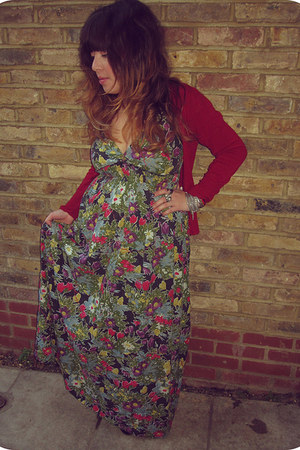 teal floral vintage dress - maroon Primark cardigan - maroon custom made sandals