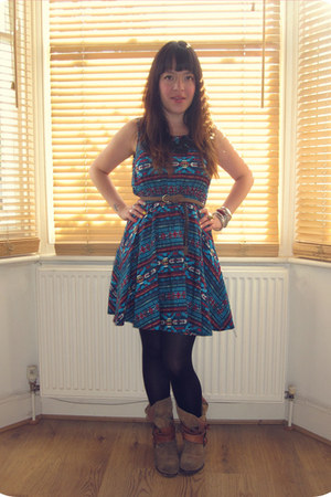 blue aztec H&M dress - brown Primark boots - black Primark tights - brown belt