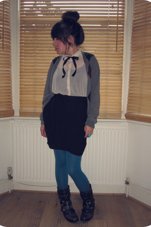 ivory sheer H&M shirt - black Office boots - teal H&M tights - black H&M skirt