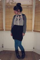 ivory sheer H&M shirt - black Office boots - teal H&M tights - black H&M skirt