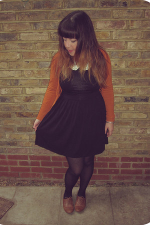 black Forever21 dress - tawny Primark shoes - black patterned H&M tights