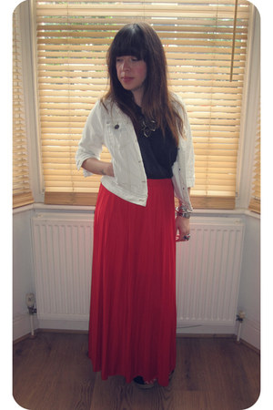 denim Primark jacket - black H&M top - red Primark skirt