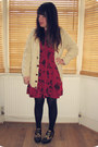 Black-leopard-print-office-shoes-maroon-floral-urban-outfitters-dress