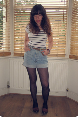 black polka dot Primark tights - denim vintage shorts - striped H&M top