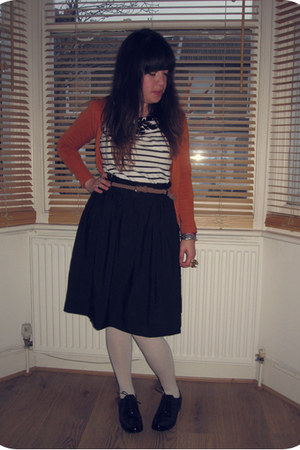 black H&M skirt - black shiny brogues Clarks shoes - off white cotton H&M tights