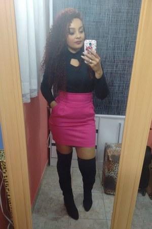 black boots - hot pink skirt - black bodysuit