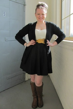 eShakti dress - faux leather Burlington coat factory boots