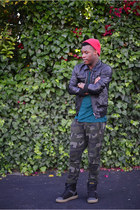 camouflage Zara pants - tiny beanie asos hat - faux leather H&M jacket