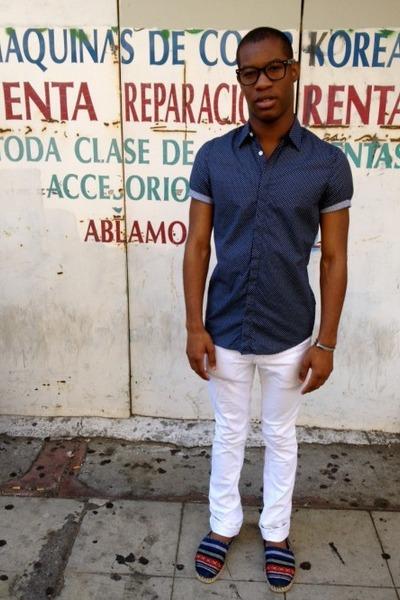 silver Aldo shoes - white slim fit Zara jeans - navy polka dot H&M shirt