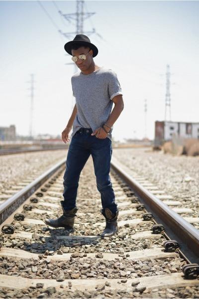 dark gray distressed asos boots - navy True Religion jeans