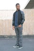black jacket Forever 21 jacket - dark gray straight leg Zara jeans