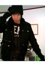Black-benetton-coat-black-american-rag-jacket-gray-h-m-scarf-blue-old-navy