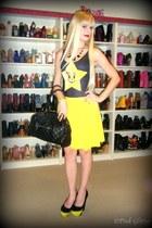 black stam Marc Jacobs bag - yellow chiffon skater American Apparel skirt