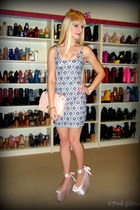 white wallpaper Black Milk dress - pink Chanel bag