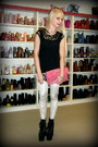Black-hellbounds-unif-boots-white-black-milk-leggings-pink-balenciaga-bag
