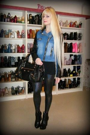 black d6 Finsk boots - blue leather  denim cotton on jacket