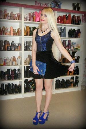 black velvet skater Black Milk skirt - blue balenciaga bag