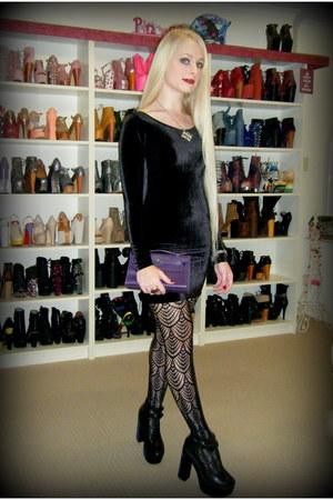 black Black Milk dress - deep purple mini kelly Hermes bag