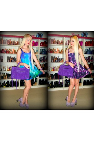 purple Black Milk dress - purple baby daim city balenciaga bag