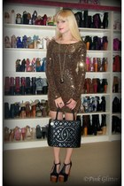 black medallion tote Chanel bag - gold sequin Black Milk dress