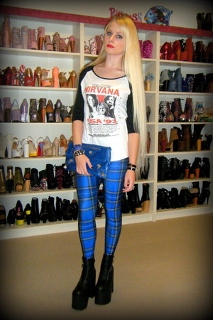 blue blue tartan Black Milk leggings - black néo UNIF boots