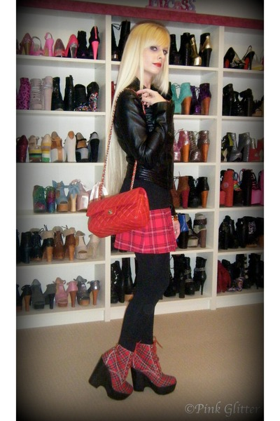 ruby red tardy Jeffrey Campbell boots - black leather Valleygirl jacket