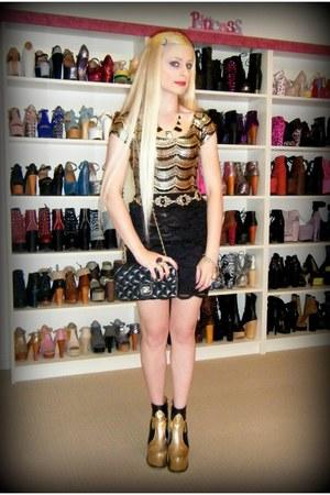 gold Jeffrey Campbell boots - black mini Chanel bag