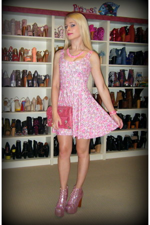 pink glitter lita Jeffrey Campbell boots - bubble gum Black Milk dress