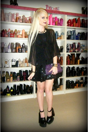 black hocus pocus Black Milk dress - deep purple mini kelly Hermes bag