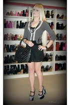 black Chanel bag - gray stunner Jeffrey Campbell heels