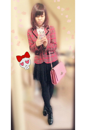 red Forever21 blazer - black boots - white shirt
