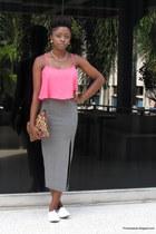 white H&M sneakers - leopard print F&F purse - pink Bershka top