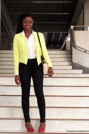 yellow H&M blazer - black skinnies H&M jeans - two toned Zalora Thailand bag